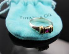 Tiffany & Co. Sterling & 14kt Gold Ruby Ring