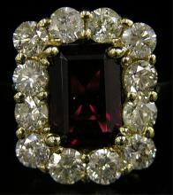 6.25ctw Rubelite & Diamond 18kt Gold Ring