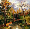 Russian Volkov Mihail Oil on Board Landscape