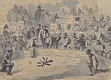Antique PRINT scene Sunday Amusements