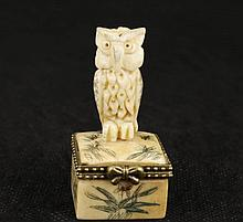 Hand Carved Ox Bone Owl Snuff Box