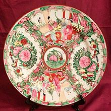 Hand Decorated Chinese Rose Medallion Plate