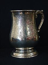 A good Victorian engraved baluster pint mug.