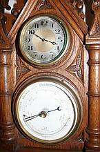 Early 20th c. Oak Wall Clock & Barometer.