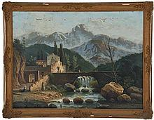 19th c O/C Landscape of Mountain Town