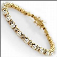 Freshwater Pearl & Diamond Bracelet