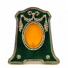Green Enameled Guilloche Faberge Inspired Frame