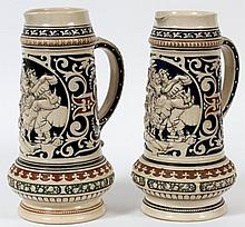 Group of 2 German Earthenware Beer Steins.