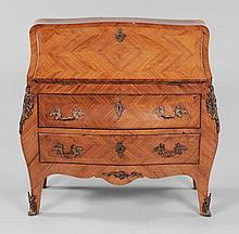 Louis XV-Style Parquetry Bombé Desk.