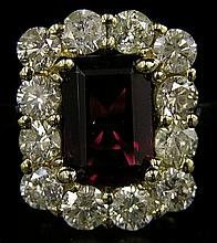 Lady's 18K Yellow Gold Rubelite Dinner Ring, with