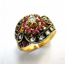 Rose Cut Diamond and Ruby Ring, Size 7