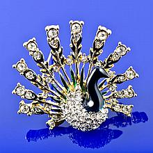 Lovely Peacock Crystal & Enamel Brooch