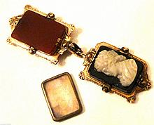 Antique Victorian Cameo Locket Pendant Fob