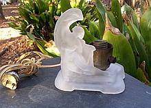 VINTAGE Art Nouveau Nude Woman Frosted Glass Lamp