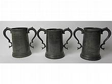 3 pewter two-handled Cambridge College trophies