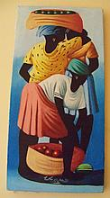 Jean Louise Haitian Acrylic on Canvas Painting