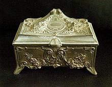 Vintage Pewter Trinket, Jewelry Box.
