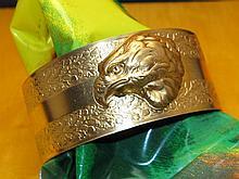 Vintage Art Nouveau Brass Cuff / Eagle Bracelet