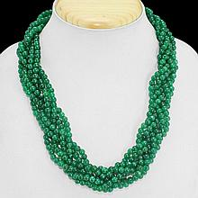 Green Emerald Multi-Strand Necklace