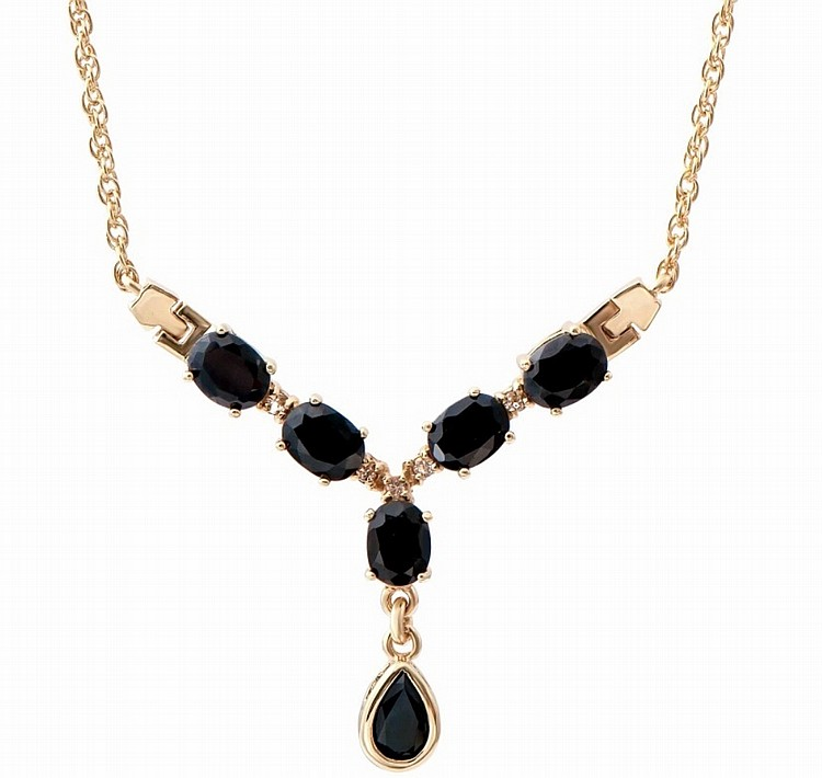 Black Sapphire, Diamond Drop Necklace.