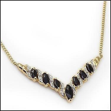 Black Sapphire, Diamond Necklace