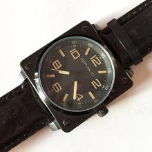 Black dail, square black case and genuine black leather wrist mens watch