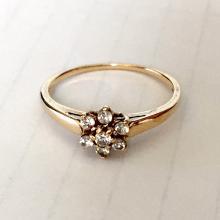 10k yellow gold white CZ ring