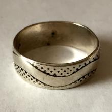 Vintage sterling silver snake skin design eternity band ring, size 11
