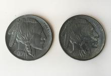 Lot of 2 identical 1913 huge in size Five Cents coins made out of pewter. Coins measured 3