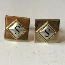 Gold plated square shape black enameled S letter initial