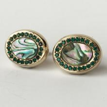 Vintage silver tone cufflinks with oval shape genuine abalone (mother of pearl) and green rhinestones