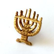 Gold plated Menorah shape tie clip