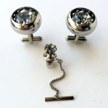 Silver tone prongs set big gray color faceted stone cufflinks and matching tie clip with safety
