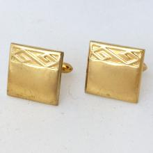 Gold plated square shape with design from one side cufflinks