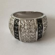 Sterling silver rhodium plated wide ring with pave set white and black CZ