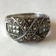 Vintage oxidized for antique look X style sterling silver  marqicite ring, size 7