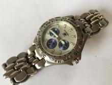 FOSSIL BLUE BO-8775 chronometer stainless steel watch with bracelet. White dial
