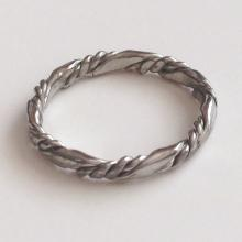 Silver tone twisted wire type thin ring