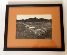 Vintage white and black boat picture in black frame, signed Whalen