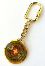Gold plated round enameled Schweiz Suisse Switzerland key ring chain