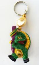 Dangling painted crocodile figurine key chain ring