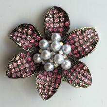 Vintagegun metal colorfloral silhouettepinkrhinestones and faux pearls pin brooch