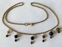 Vintage bronze color chain with dangling different beads necklace, signed EXPRESS