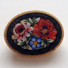 Gold plated oval multicolor flower mosaic pin brooch