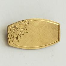 Gold tone engraved Floral Carved Design from side pin brooch