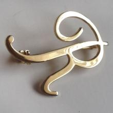 Gold plated R initial letter shape pin brooch