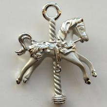 Silver tone shine and satin finish CAROUSEL HORSE shape pin brooch, signed A.J.C.