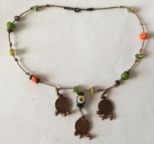 Vintage Murano glass, enameled wood, bronze color metal beads attached to rope with dangling round bronze coin like dangling charms necklace