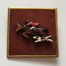 Vintage gold plated square base and frame brooch pin with carved plastic in shape of ENGLISH MAN HUNTER ON RUNNING HORSE WITH DOG