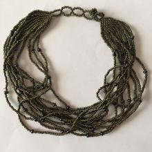 Small dark color glass beads multi strand necklace